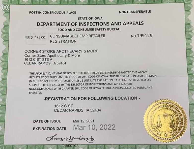 hemp retailer certification for Corner Store